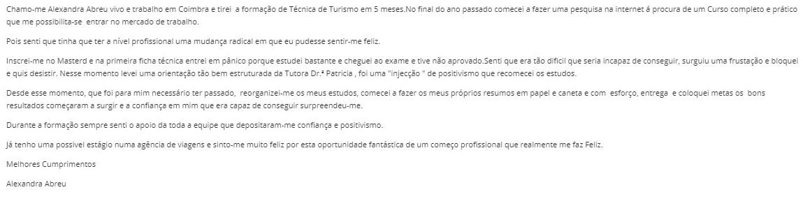 Opinião Master D Alexandra Abreu