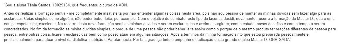 Opinião Master D Tânia Santos