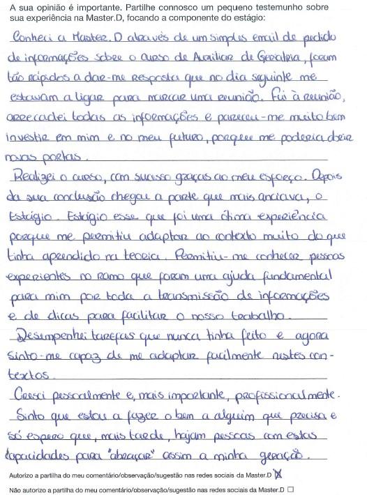Opinião sobre o estágio Master D da Sónia Barros