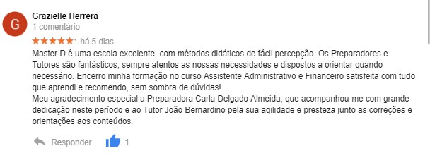 Opinião de Grazielle Herrera acerca da Master D Lisboa