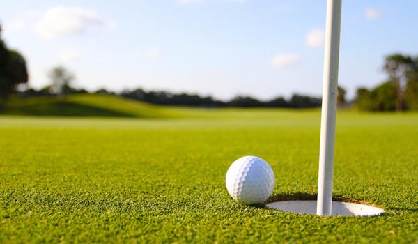 Campo de golfe e bola