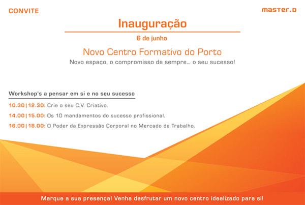 Convite centro formação Master D Porto