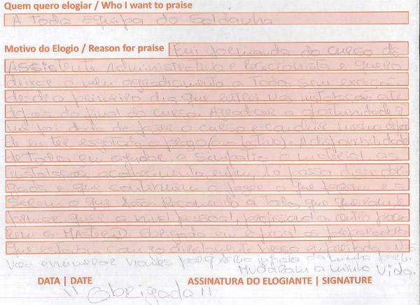 Opinião recebida no livro de elogios da Master.D Saldanha, Lisboa