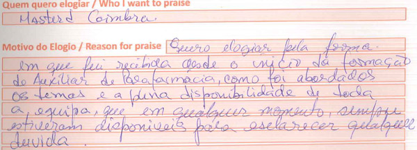 Opinião do Livro de Elogios da Master.D em julho no centro formativo de Coimbra
