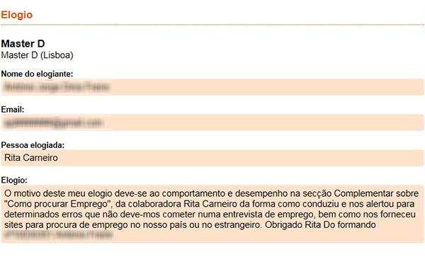 Elogio do formando ao Curso de Assistente Administrativo-Financeiro mo centro formativo do Porto da Master.D