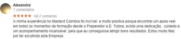 Comentário da Alexandra sobre a Master D Coimbra