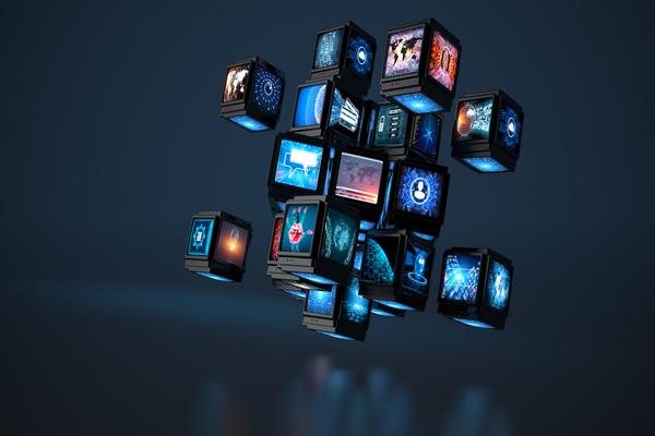 Conceito de cubos relacionado com conteúdos multimédia
