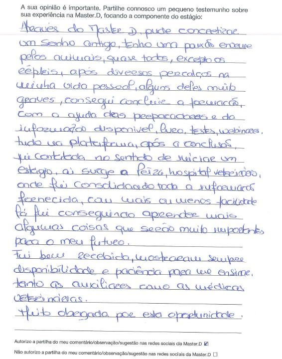 Folha do cadernos de estágios escrita com comentário de formando
