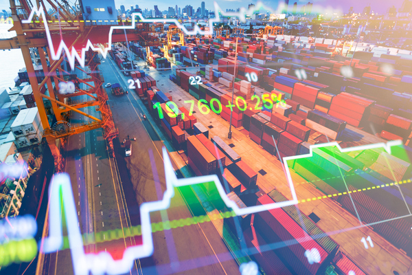 Zona industrial com representação de gráficos