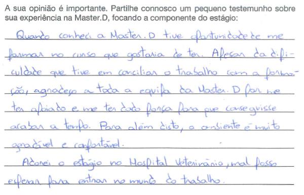 Vera Alves : Auxiliar de Veterinária - Opiniões Master D