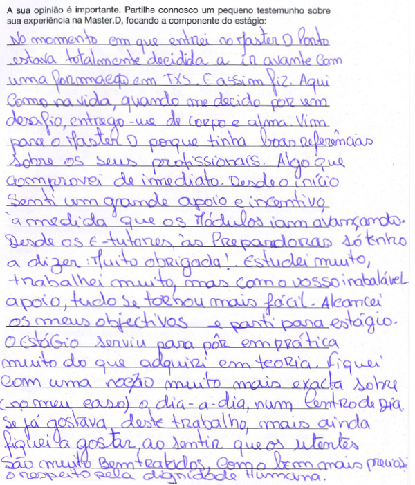 Sofia Teixeira : Auxiliar de Saúde - Opiniões Master D