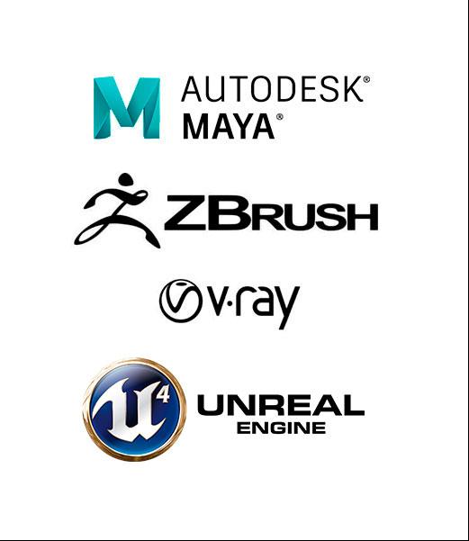 autodesk maya, zbrush, vray, unreal engine